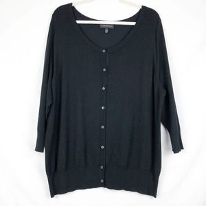 Lane Bryant Cardigan Button 3/4 Sleeve Black 18 20